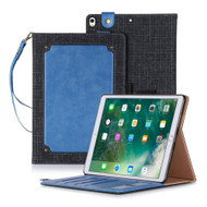 Leather Canvas Smart Folio Wallet Stand Case with Auto Sleep/Wake for iPad Pro 10.5 inch - Blue