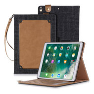 Leather Canvas Smart Folio Wallet Stand Case with Auto Sleep/Wake for iPad Pro 10.5 inch - Brown