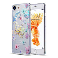 Decoration Series Holographic Printing Transparent Fusion Case for iPhone 8 / 7 / 6S / 6 - Sakura Butterfly