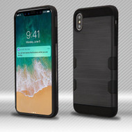 Military Grade Certified TUFF Trooper Dual Layer Hybrid Armor Case for iPhone XS Max - Brushed Black