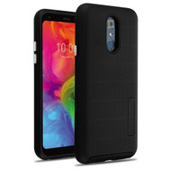Haptic Dots Texture Anti-Slip Hybrid Armor Case for LG Q7 Plus - Black