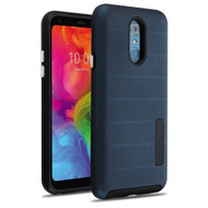 Haptic Dots Texture Anti-Slip Hybrid Armor Case for LG Q7 Plus - Navy Blue