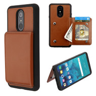 Pocket Wallet Case with Stand for LG Stylo 4 - Brown
