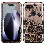 Military Grade Certified TUFF Hybrid Armor Case for Google Pixel 3 XL - Lace Flower Rose Gold