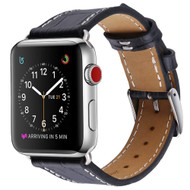 Alligator Skin Design Genuine Leather Watch Band for Apple Watch 44mm / 42mm - Black