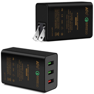 Qualcomm Quick Charge 2.0 Travel Wall Charger with 3 USB Ports - Black