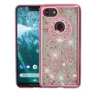 Electroplating Quicksand Glitter Transparent Case for Google Pixel 3 XL - Dreamcatcher Rose Gold