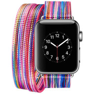 Double Wrap Genuine Leather Watch Band for Apple Watch 40mm / 38mm - Rainbow