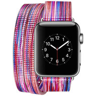 Double Wrap Genuine Leather Watch Band for Apple Watch 44mm / 42mm - Rainbow