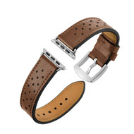 Polka Dot Genuine Leather Watch Band for Apple Watch 44mm / 42mm - Brown