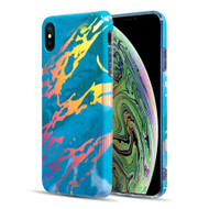 Holographic Effect Marble TPU Case for iPhone XS / X - Teal