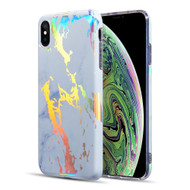 Holographic Effect Marble TPU Case for iPhone XS / X - White