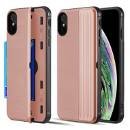 Kard Series Dual Hybrid Case with Card Slot and Magnetic Kickstand for iPhone XS Max - Rose Gold