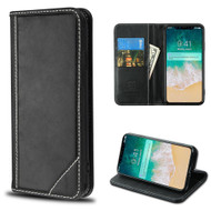 Mybat Genuine Leather Wallet Case for iPhone XS Max - Black