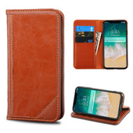 Mybat Genuine Leather Wallet Case for iPhone XS Max - Brown