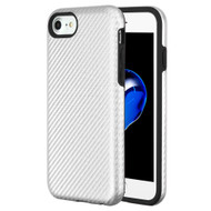 Carbon Fiber Hybrid Case for iPhone 8 / 7 / 6S / 6 - Silver