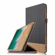 Luxury Leather Canvas Smart Folio Case with with Auto Sleep/Wake Trifold Cover for iPad Pro 10.5 inch - Black