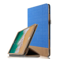 Luxury Leather Canvas Smart Folio Case with with Auto Sleep/Wake Trifold Cover for iPad Pro 10.5 inch - Blue