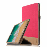Luxury Leather Canvas Smart Folio Case with with Auto Sleep/Wake Trifold Cover for iPad Pro 10.5 inch - Red
