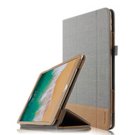 Luxury Leather Canvas Smart Folio Case with with Auto Sleep/Wake Trifold Cover for iPad Pro 10.5 inch - Grey