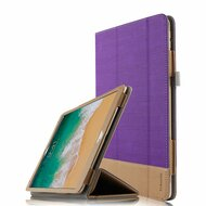 Luxury Leather Canvas Smart Folio Case with with Auto Sleep/Wake Trifold Cover for iPad Pro 10.5 inch - Purple