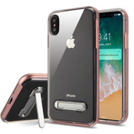 Bumper Shield Clear Transparent TPU Case with Magnetic Kickstand for iPhone XS Max - Rose Gold