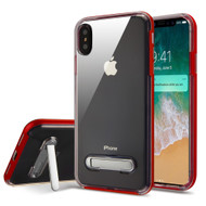 Bumper Shield Clear Transparent TPU Case with Magnetic Kickstand for iPhone XS Max - Red