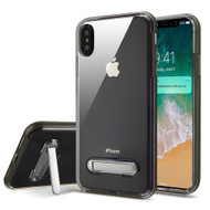 Bumper Shield Clear Transparent TPU Case with Magnetic Kickstand for iPhone XS Max - Grey
