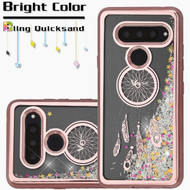 Electroplating Quicksand Glitter Transparent Case for LG V40 ThinQ - Dreamcatcher Rose Gold