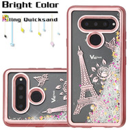 Electroplating Quicksand Glitter Transparent Case for LG V40 ThinQ - Eiffel Tower Rose Gold