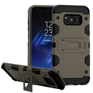 Military Grade Certified Storm Tank Hybrid Armor Case with Stand for Samsung Galaxy S8 Plus - Grey