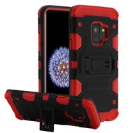 Military Grade Certified Storm Tank Hybrid Armor Case with Stand for Samsung Galaxy S9 - Black Red