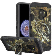 Military Grade Certified Storm Tank Hybrid Armor Case with Stand for Samsung Galaxy S9 - Tree Camouflage