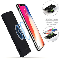 True Wireless Power Bank Qi Inductive Charging Pad 12000mAh Battery Pack - Black