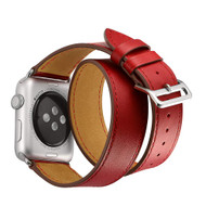 Double Wrap Genuine Leather Watch Band for Apple Watch 44mm / 42mm - Red