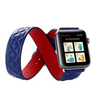 Double Wrap Genuine Quilted Leather Watch Band for Apple Watch 44mm / 42mm - Blue