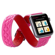 Double Wrap Genuine Quilted Leather Watch Band for Apple Watch 44mm / 42mm - Pink