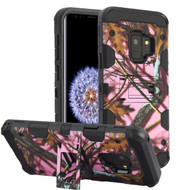 Military Grade Certified Storm Tank Hybrid Armor Case with Stand for Samsung Galaxy S9 - Pink Oak Hunting Camouflage