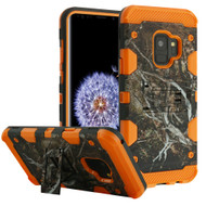 Military Grade Certified Storm Tank Hybrid Armor Case with Stand for Samsung Galaxy S9 - Tree Camouflage Orange