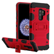 Military Grade Certified Storm Tank Hybrid Armor Case with Stand for Samsung Galaxy S9 Plus - Red