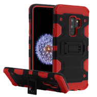 Military Grade Certified Storm Tank Hybrid Armor Case with Stand for Samsung Galaxy S9 Plus - Black Red