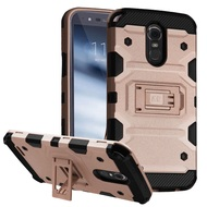 Military Grade Certified Storm Tank Hybrid Armor Case with Stand for LG Stylo 3 / Stylo 3 Plus - Rose Gold