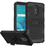 Military Grade Certified Storm Tank Hybrid Armor Case with Stand for LG Stylo 4 - Black