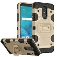 Military Grade Certified Storm Tank Hybrid Armor Case with Stand for LG Stylo 4 - Gold