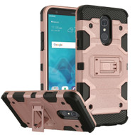 Military Grade Certified Storm Tank Hybrid Armor Case with Stand for LG Stylo 4 - Rose Gold