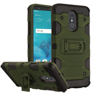 Military Grade Certified Storm Tank Hybrid Armor Case with Stand for LG Stylo 4 - Green
