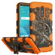 Military Grade Certified Storm Tank Hybrid Armor Case with Stand for LG Stylo 4 - Tree Camouflage Orange