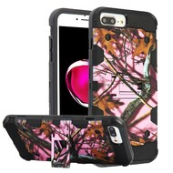 Military Grade Certified Storm Tank Hybrid Armor Case with Stand for iPhone 8 Plus / 7 Plus / 6S Plus / 6 Plus - Pink Oak Hunting Camouflage
