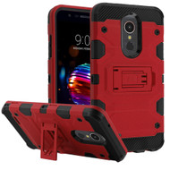 Military Grade Certified Storm Tank Hybrid Armor Case with Stand for LG K30 - Red