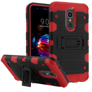 Military Grade Certified Storm Tank Hybrid Armor Case with Stand for LG K30 - Black Red